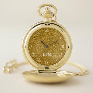 モノグラムの模造のな金属金ゴールドのグリッターの壊中時計 ポケットウォッチ