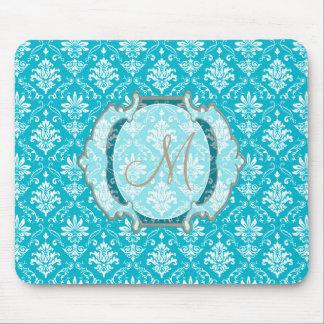 モノグラムの水の青および白いダマスク織 マウスパッド