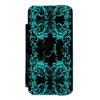 モノグラムの水の青のダマスク織 INCIPIO WATSON™ iPhone 5 ウォレット ケース