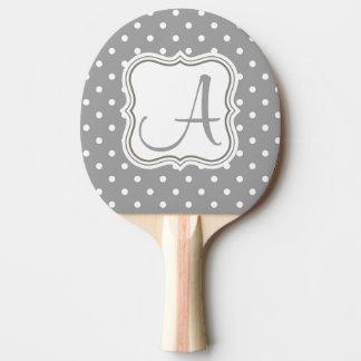 モノグラムの水玉模様のイニシャルの名前のエレガントな灰色 卓球ラケット