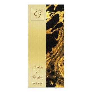 モノグラムの液体の金ゴールドの結婚式プログラムの招待状 カード