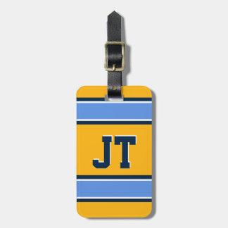 モノグラムの淡いブルーおよび金ゴールドのスポーツは縞で飾ります ラゲッジタグ