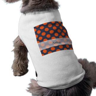 モノグラムの濃紺のオレンジシックな水玉模様パターン ペット服