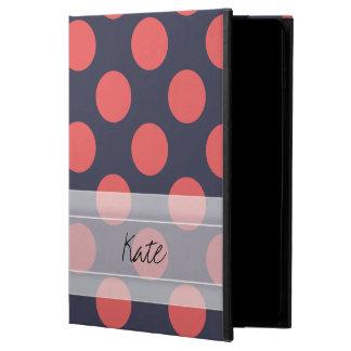 モノグラムの濃紺の珊瑚のピンクの水玉模様パターン POWIS iPad AIR 2 ケース