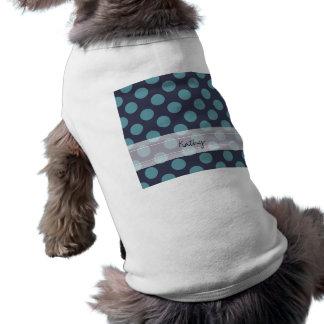 モノグラムの濃紺の空色の水玉模様パターン ペット服