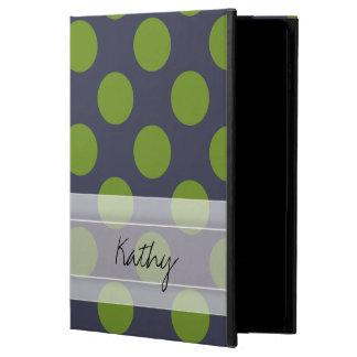 モノグラムの濃紺の緑のシックな水玉模様パターン POWIS iPad AIR 2 ケース