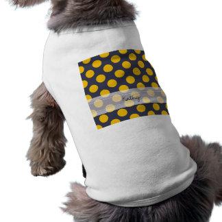 モノグラムの濃紺の黄色のシックな水玉模様パターン ペット服