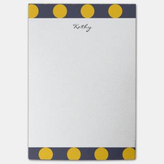 モノグラムの濃紺の黄色のシックな水玉模様パターン ポストイット