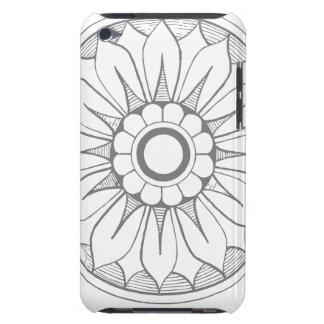 モノグラムの灰色およびピンクのモダンな円形浮彫りパターン Case-Mate iPod TOUCH ケース