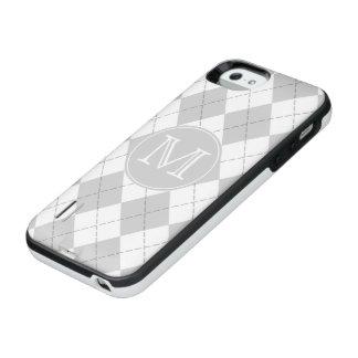 モノグラムの灰色および白いアーガイル iPhone SE/5/5sバッテリーケース