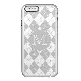 モノグラムの灰色および白くアーガイル柄のなiPhone6ケース Incipio Feather Shine iPhone 6ケース