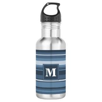 モノグラムの灰色青いストライブ柄 ウォーターボトル