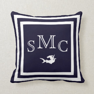 モノグラムの無地のな濃紺の明白な枕 クッション