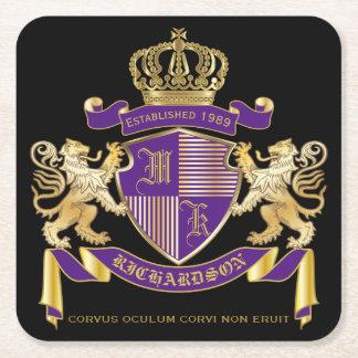 モノグラムの王冠の紋章あなた自身の紋章付き外衣を作って下さい スクエアペーパーコースター