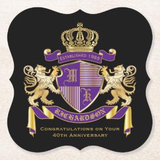 モノグラムの王冠の紋章あなた自身の紋章付き外衣を作って下さい ペーパーコースター