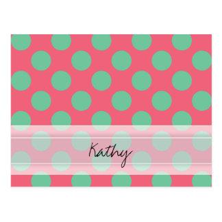 モノグラムの珊瑚のピンクのアロエの緑の水玉模様パターン ポストカード