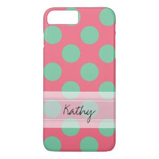 モノグラムの珊瑚のピンクのアロエの緑の水玉模様パターン iPhone 8 PLUS/7 PLUSケース