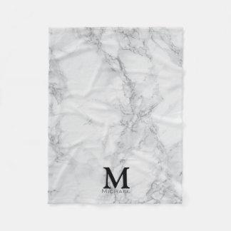 モノグラムの白い灰色の大理石 フリースブランケット