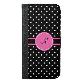 モノグラムの白くおよび黒い水玉模様パターン iPhone 6/6S PLUS ウォレットケース