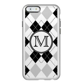 モノグラムの白黒および灰色のアーガイルのiPhone6ケース Incipio Feather Shine iPhone 6ケース
