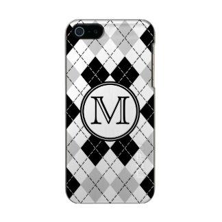 モノグラムの白黒および灰色のアーガイル柄のなiPhone 5の場合 メタリックiPhone SE/5/5sケース