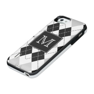 モノグラムの白黒および灰色のアーガイル iPhone SE/5/5sバッテリーケース
