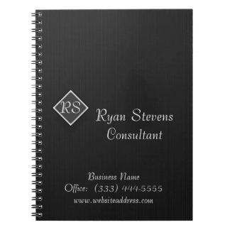 モノグラムの白黒の細い縦縞の螺線形ノート ノートブック