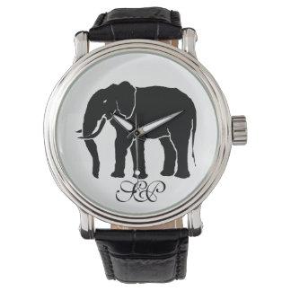 モノグラムの白黒アフリカゾウの紋章 腕時計