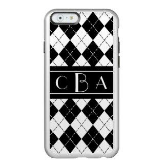 モノグラムの白黒アーガイル INCIPIO FEATHER SHINE iPhone 6ケース