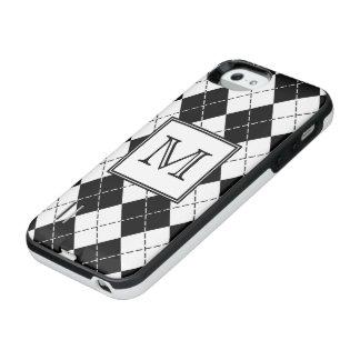 モノグラムの白黒アーガイル iPhone SE/5/5sバッテリーケース