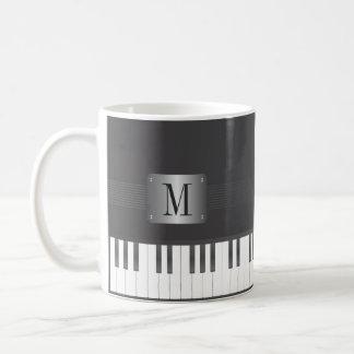 モノグラムの白黒ピアノ コーヒーマグカップ