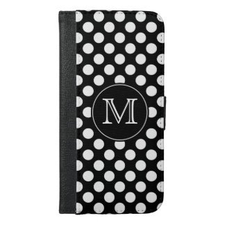 モノグラムの白黒水玉模様 iPhone 6/6S PLUS ウォレットケース