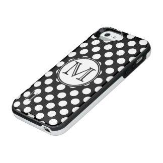 モノグラムの白黒水玉模様 iPhone SE/5/5sバッテリーケース