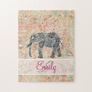 モノグラムの種族のペイズリー象のカラフルのHenna ジグソーパズル