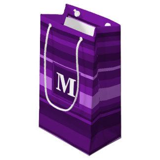 モノグラムの紫色のストライブ柄 スモールペーパーバッグ