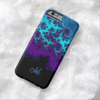 モノグラムの紫色のターコイズのフラクタルのiPhone6ケース Barely There iPhone 6 ケース
