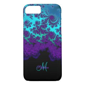 モノグラムの紫色のターコイズのフラクタルのiPhone 7の箱 iPhone 8/7ケース
