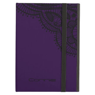 モノグラムの紫色のレースの一見のiPadカバー iPad Airケース