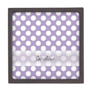 モノグラムの紫色の白く粋なおもしろいの水玉模様パターン ギフトボックス