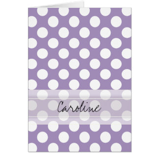 モノグラムの紫色の白く粋なおもしろいの水玉模様パターン ノートカード