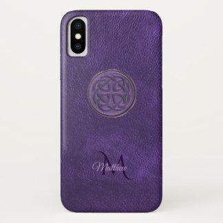 モノグラムの紫色の革ケルト結び目模様のiPhone Xの箱 iPhone X ケース