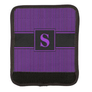 モノグラムの紫色の黒い細い縦縞 ラゲッジ ハンドルラップ