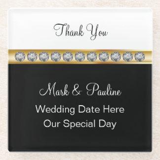 モノグラムの結婚式のコースターの好意 ガラスコースター