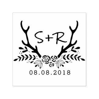 モノグラムの結婚式のスタンプは、日付を救います セルフインキングスタンプ