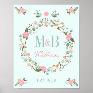 モノグラムの結婚式ポスタープリントのミントの結婚式 ポスター
