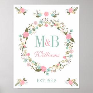 モノグラムの結婚式ポスタープリントの花のbohoの結婚式 プリント