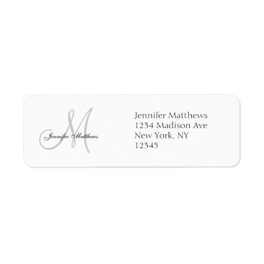 モノグラムの結婚式招待状のシンプルの宛名ラベル 返信用宛名ラベル