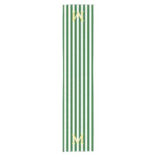 モノグラムの緑および白くストライプのなテーブルのランナー ショートテーブルランナー
