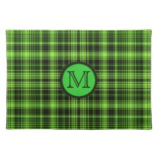 モノグラムの緑の格子縞のランチョンマット ランチョンマット