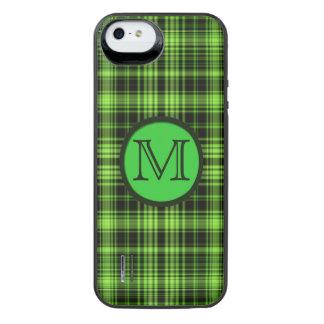 モノグラムの緑の格子縞 iPhone SE/5/5sバッテリーケース